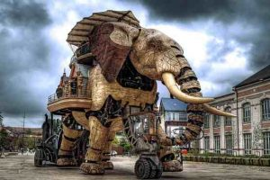 The Les Machines De L'Isles fair in Nantes, France. Full Sized operational Mecha Elephant inspired by Jules Verne