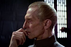 """Evacuate? In the moment of triumph?"" - Despite his earlier resolution, the last moment we see Tarkin portrays a very human side of him - his deep doubt."