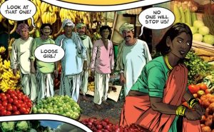 Priya is targeted in the marketplace. (Image courtesy of www.priyasshakti.com)