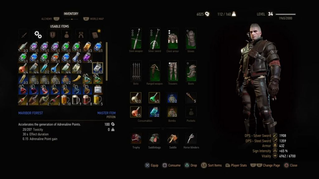 witcher 3 4 potion slots