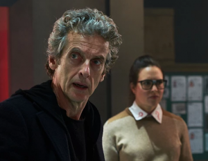 Peter Capaldi (the Doctor) and Ingrid Oliver (Osgood)