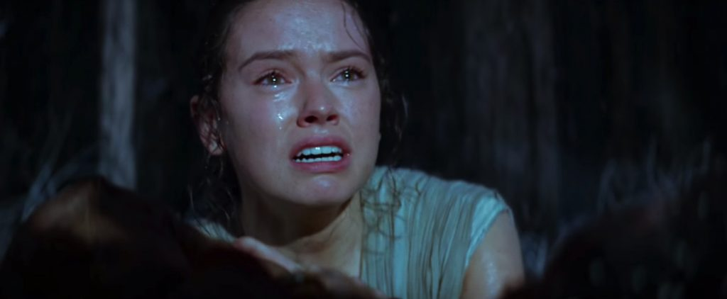 The Force Awakens Rey crying