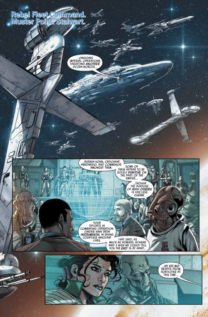 The story, written by Greg Rucka, brings up the atmosphere of desperate struggle against Imperial remnant; brought to life by Marco Checchetto's illustration (image source: Starwars.com)