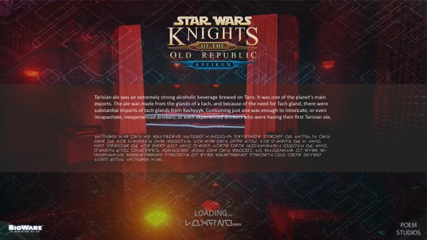 The creators are also giving overhaul to the loading screens, seemingly with upgraded content, too (source: https://twitter.com/apeiron_kotor)