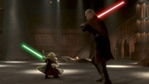 A master dueling his apprentice - a recurring theme, it seems, in the line of Yoda's pupils