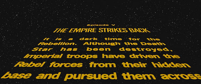 "Opening crawl of ""The Empire Strikes Back"""