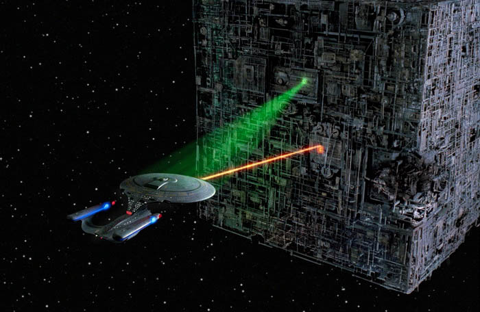 The Enterprise-D engaged in battle with the Borg