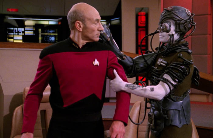 Captain Picard is taken by the Borg