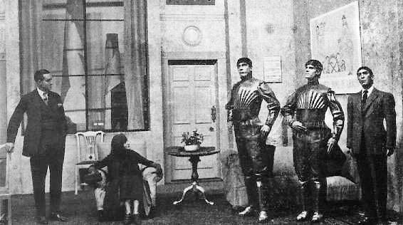 A scene from the theatre performance of R.U.R.