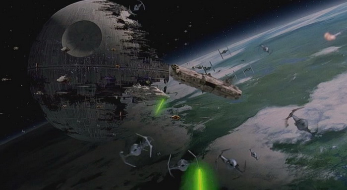 The Millenium Falcon and the Death Star engaged in spectacular battle