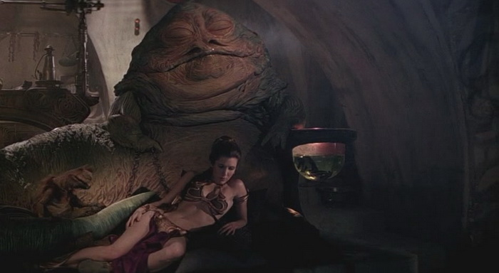 Leia enslaved by Jabba the Hutt
