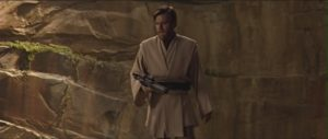 """""""So uncivilized,"""" Obi-Wan remarks at the end of the Clone Wars after using a blaster to shoot General Grievous."""