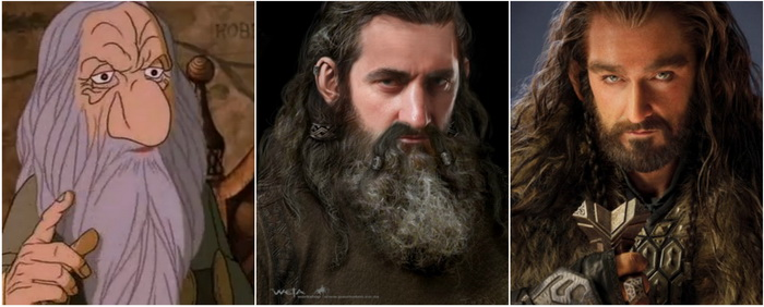 The evolution of Thorin's look from the 1977 animation to the recent films