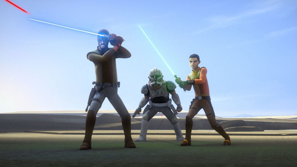 The Master, the Padawan, and the clone trooper: like straight out of the Clone Wars.