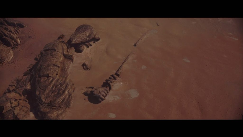 """A Jedi monument (probably on the """"pilgrimage planet"""" Jedha), reminiscent of geoglyphs from our world"""