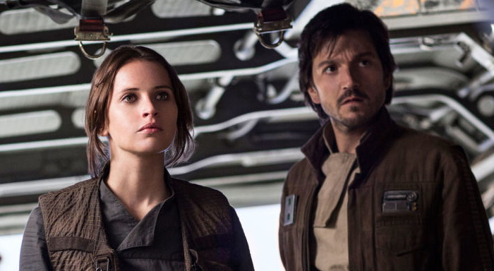 Jyn Erso and Cassian Andor on their way to Scarif