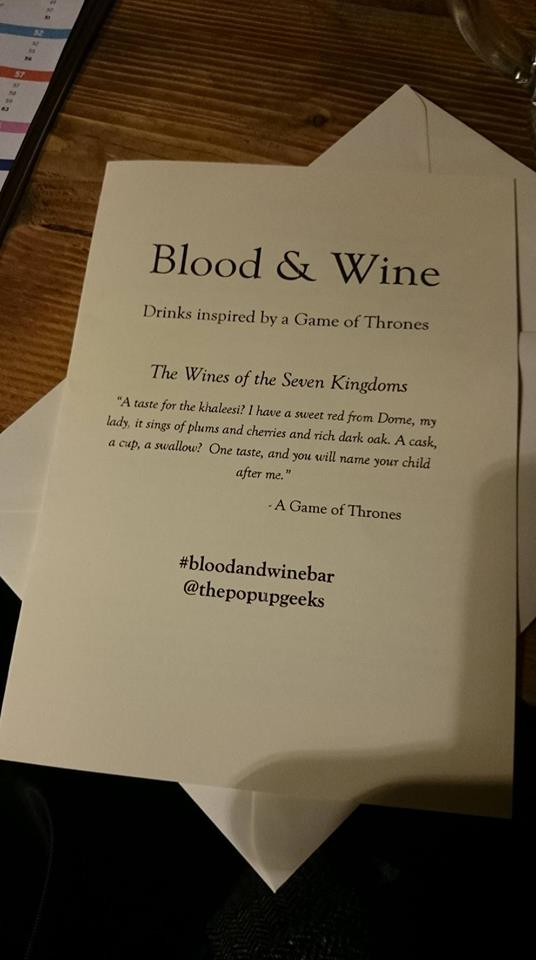 Blood and Wine Game of thrones